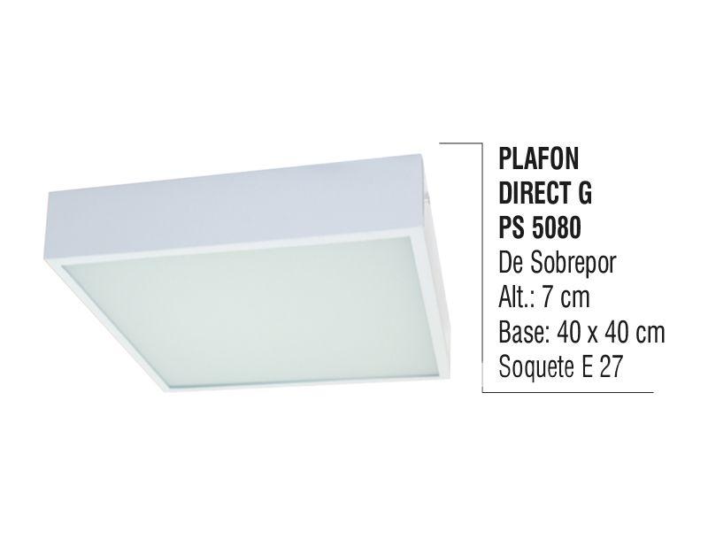 Plafon Teto Parede Direct G de Sobrepor Alumínio e Vidro