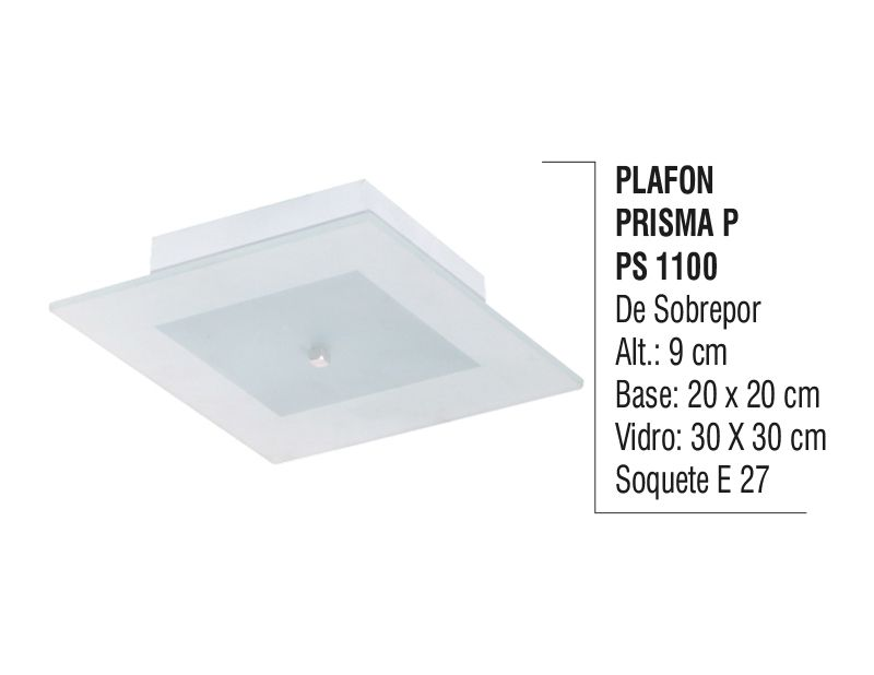 Plafon Teto Parede Prisma P de Sobrepor Alumínio e Vidro