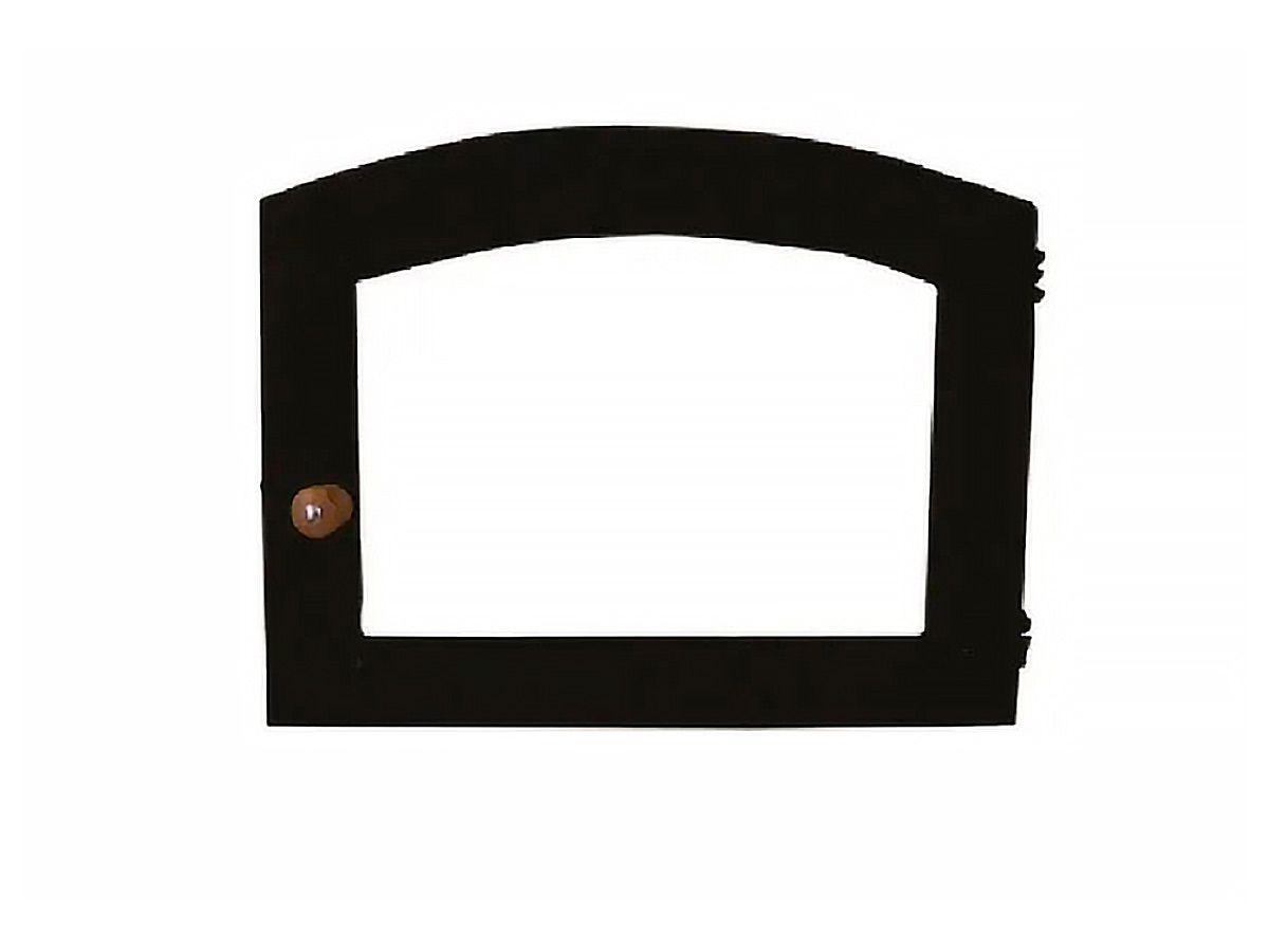 Porta Forno Ferro Fundido Vidro Batoque Madeira 42x40cm