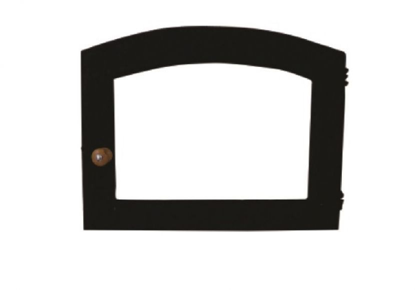 Porta Forno Ferro Fundido Vidro Batoque Madeira 53x41cm
