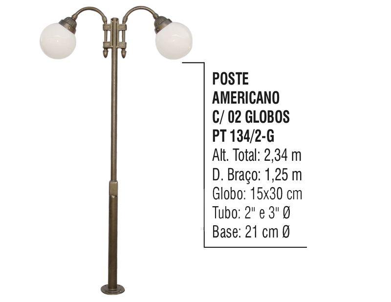 Poste Colonial Americano para Jardim Alumínio 02 Globo 2,34m