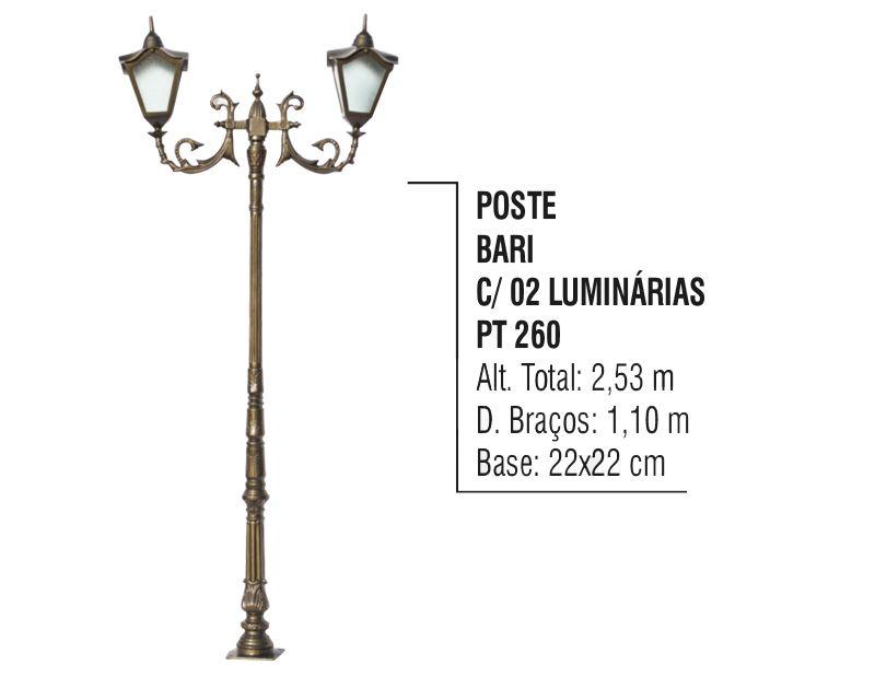 Poste Colonial Bari para Jardim Alumínio 02 Luminária 2,53m