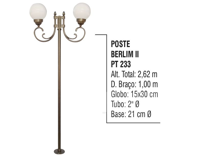 Poste Colonial Berlim 2 para Jardim Alumínio 02 Globo 2,62m