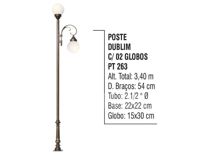 Poste Colonial Dublim para Jardim Alumínio 02 Globos 3,40m