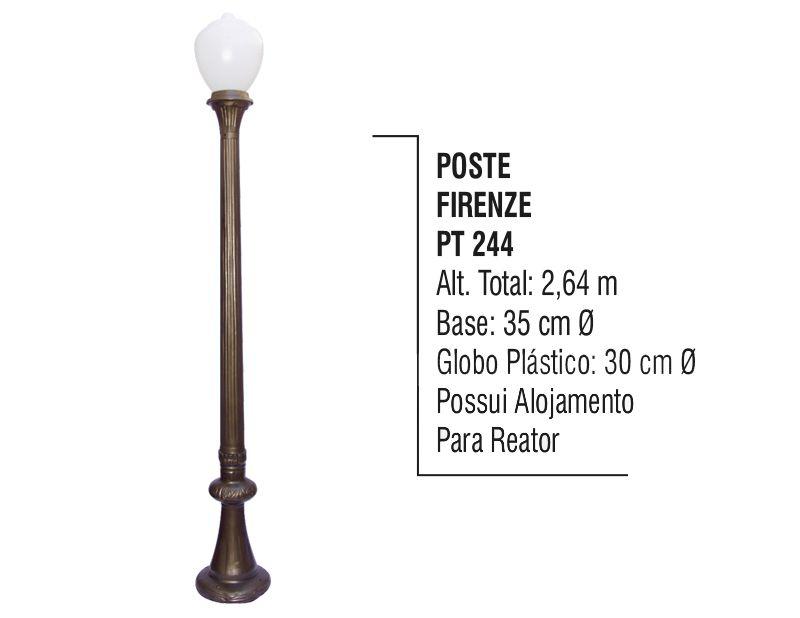 Poste Colonial Firenze P/ Jardim de Alumínio 01 Globo 2,64m