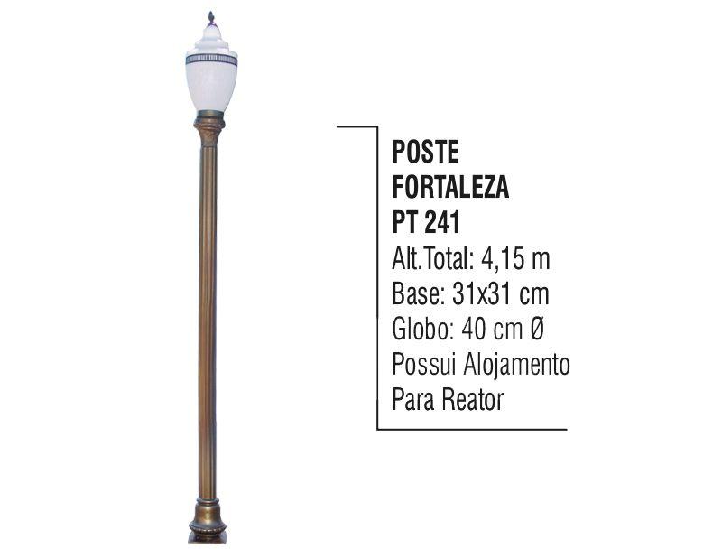 Poste Colonial Fortaleza Jardim de Alumínio 01 Globo 4,15m