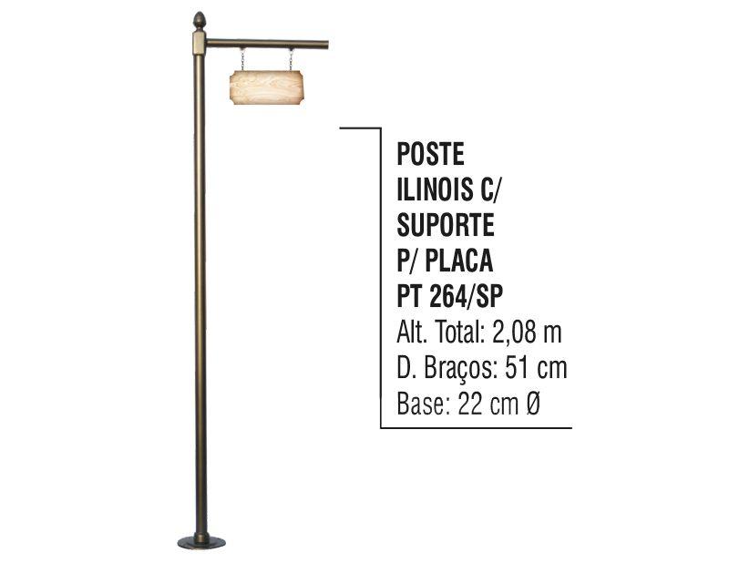 Poste Colonial Ilinois para Jardim Alumínio C. S.placa 2,08m