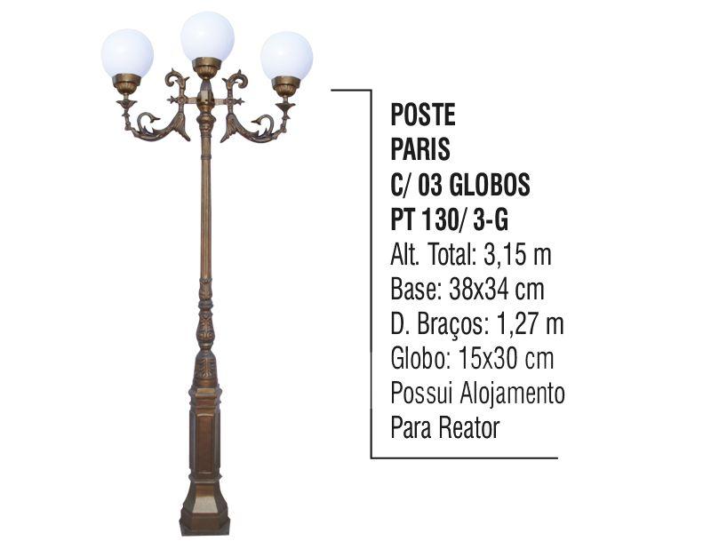 Poste Colonial Paris P/ Jardim de Alumínio 03 Globo 3,15m