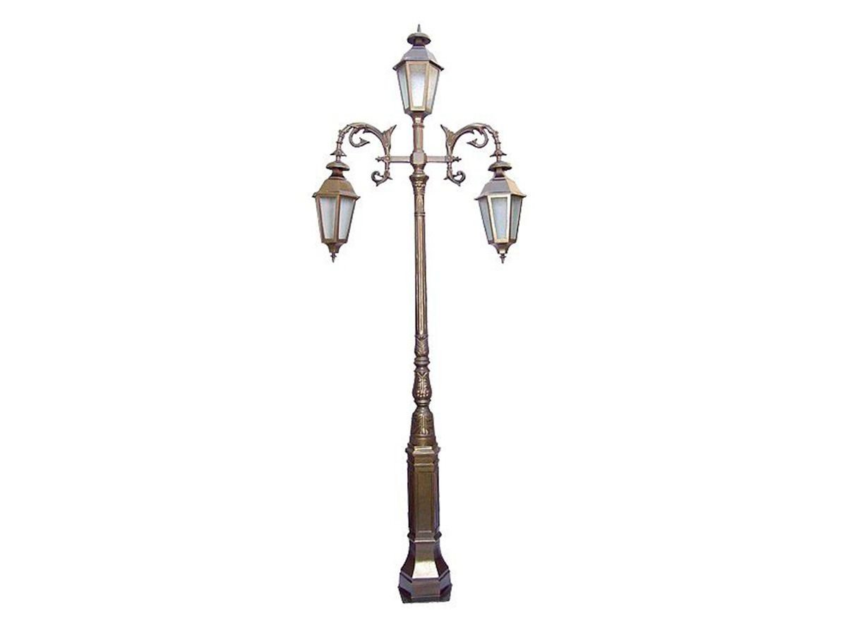 Poste Colonial Paris para Jardim Alumínio 03 Luminária 3,45m