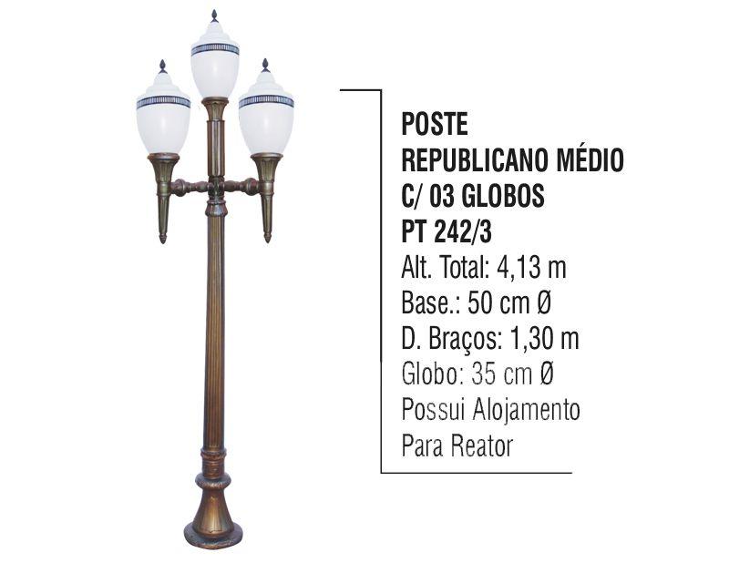 Poste Colonial Republicano Jardim de Alumínio 03 Globo 4,80m