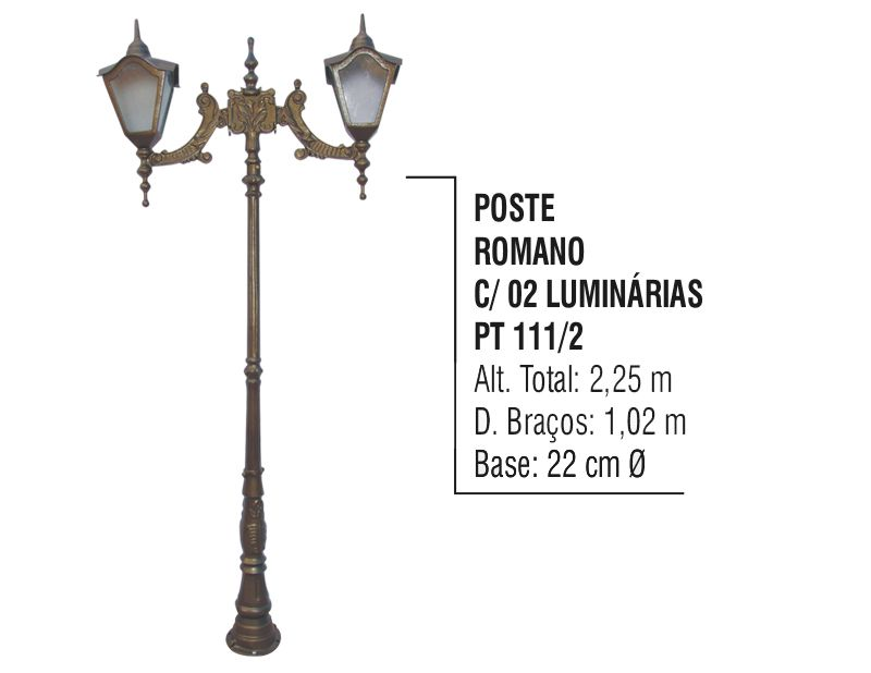 Poste Colonial Romano Jardim de Alumínio 02 Luminária 2,25m