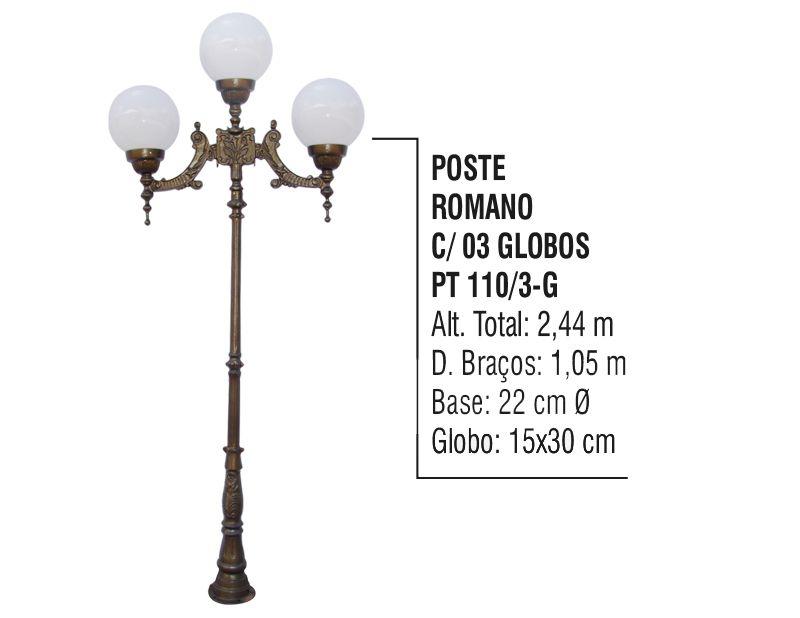 Poste Colonial Romano para Jardim Alumínio 03 Globo 2,44m