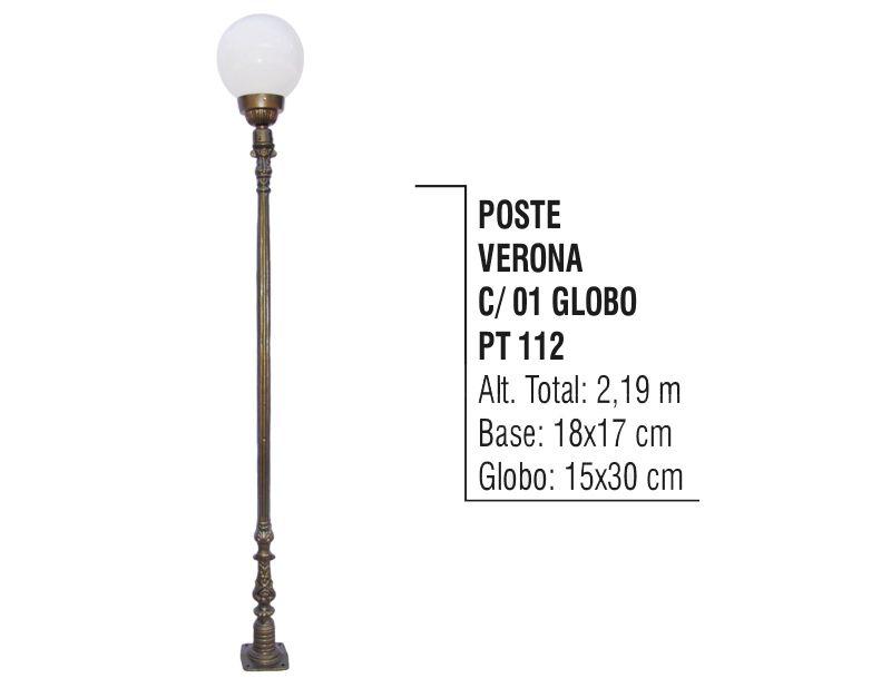 Poste Colonial Verona para Jardim de Alumínio 01 Globo 2,19m