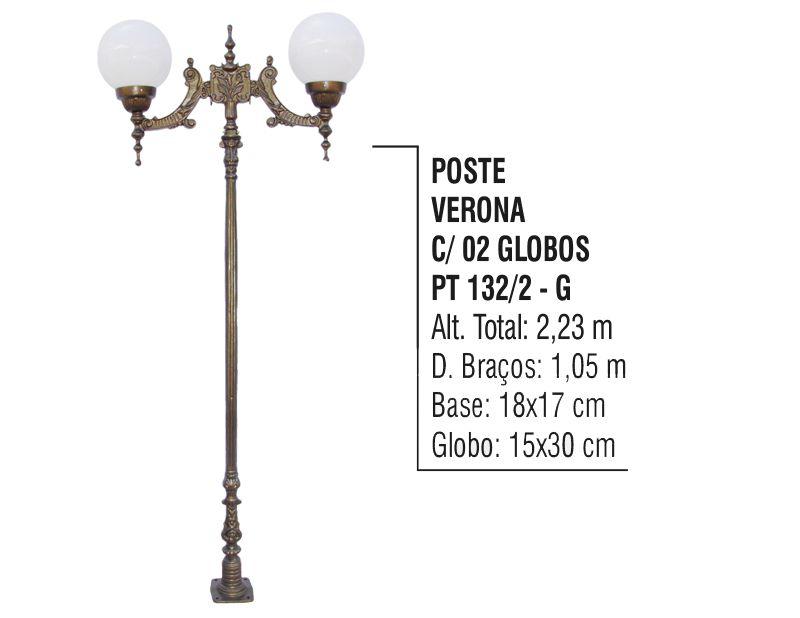 Poste Colonial Verona para Jardim de Alumínio 02 Globo 2,23m
