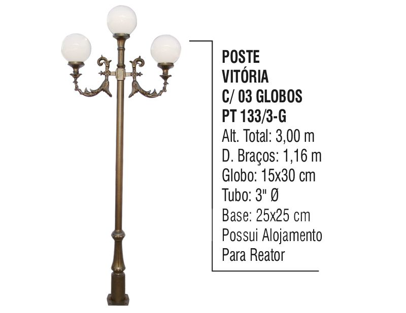 Poste Colonial Vitória para Jardim Alumínio 03 Globos 3,00m