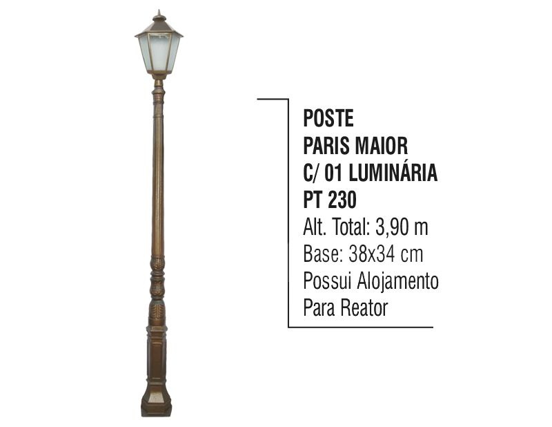 Poste Paris Maior P/ Jardim de Alumínio 01 Luminária 3,90m
