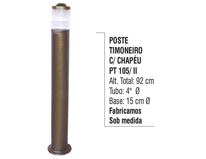 Poste Timoneiro com Chapéu Jardim em Tubo de Alumínio 92cm