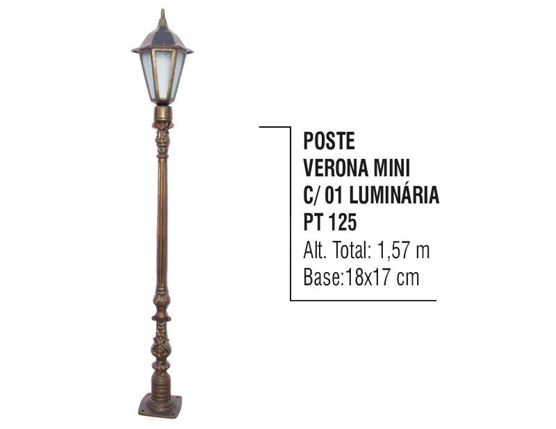 Poste Verona Mini para Jardim de Alumínio 01 Luminária 1,57m
