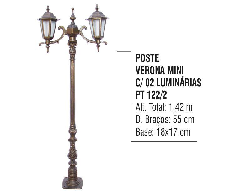Poste Verona Mini para Jardim de Alumínio 02 Luminária 1,42m