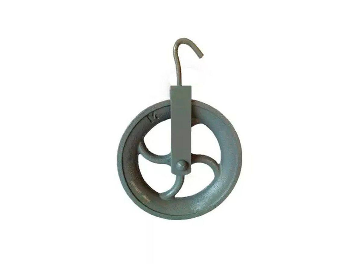 Roldana de Ferro com Gancho- 200 Kg 20cm