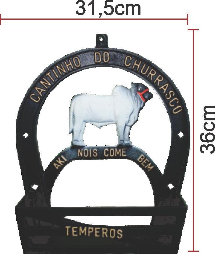 Suporte Porta Tempero E Condimentos Alumínio Fundido Boi