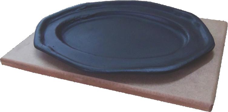 Tepan 26x16 Oval  De Ferro Fundido Com Aparador De Madeira