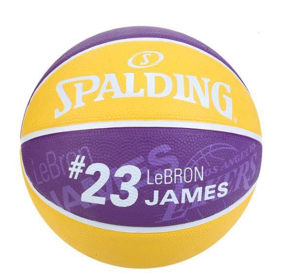 BOLA BASQUETE NBA LOS ANGELES LAKERS SPALDING LEBRON JAMES 23 - AMARELO E ROXO