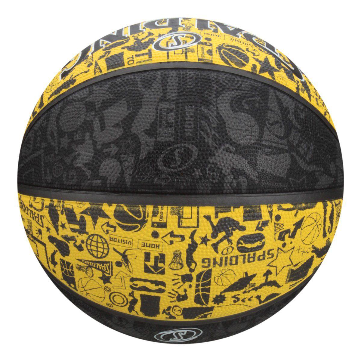 BOLA BASQUETE NBA SPALDING GRAFFITI TAM. 7 - AMARELO E CINZA