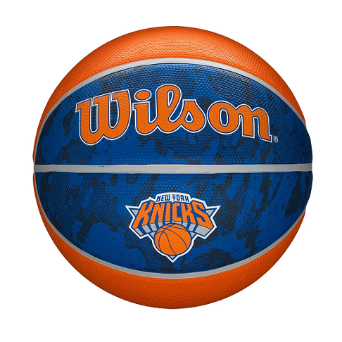 BOLA DE BASQUETE WILSON NBA NEW YORK KNICKS TEAM TIEDYE - TAMANHO 7 - AZUL E LARANJA