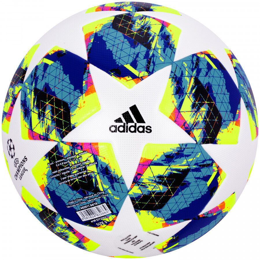 BOLA DE FUTEBOL SOCIETY ADIDAS UEFA CHAMPIONS LEAGUE FINALE 19/20 MATCH BALL REPLIQUE - BRANCO E AZUL