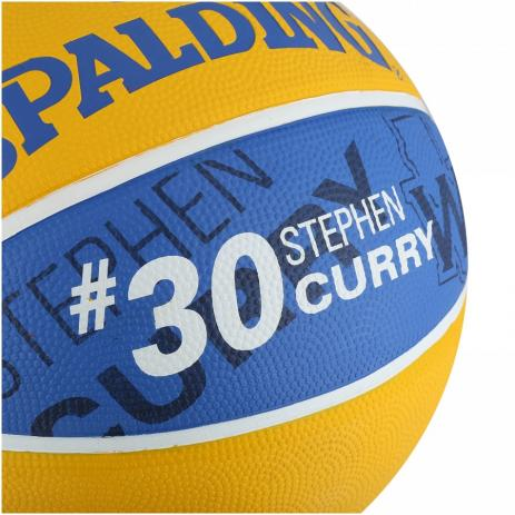 BOLA DE BASQUETE SPALDING NBA GOLDEN STATE WARRIORS STEPHEN CURRY 30 - AZUL E AMARELO