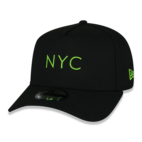 BONÉ NEW ERA 9FORTY A-FRAME SIMPLE SIGNATURE FLUOR NYC NEW YORK CITY - VERDE FLUOR