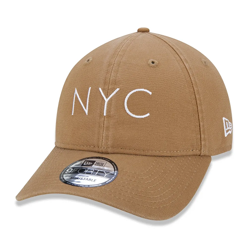 BONE NEW ERA 940 UNST WASHED DUCK NYC SS20 BEGE