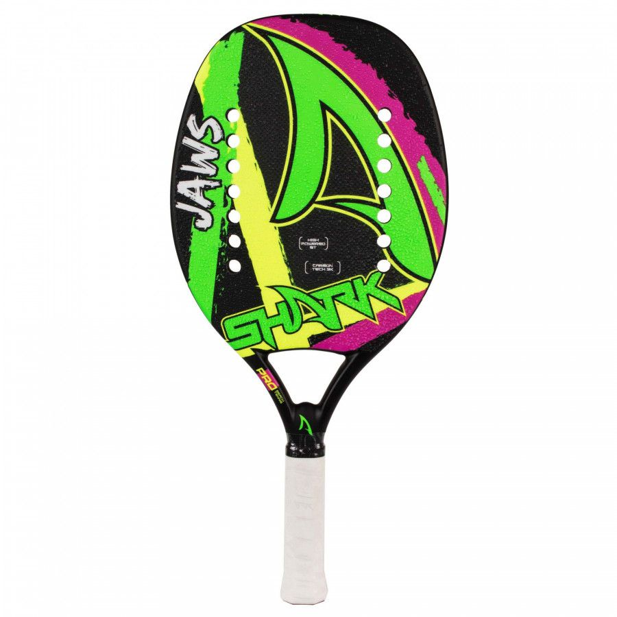 RAQUETE DE BEACH TENNIS SHARK JAWS 50 2019 - VERDE E PRETO