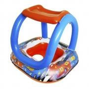Boia Bote Inflável Bebê com Cobertura Corrida Divertida 66x66cm  DM TOYS
