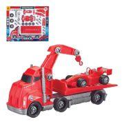 Brinquedo Monta  Caminhão Guincho Carro F1 43 Peças