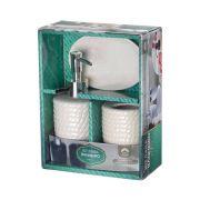 Kit Para Banheiro Saboneteira  3 Peças  (XC 922) branco