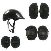Kit Proteção Infantil  Capacete, Joelheira, Cotoveleira e Protetor De Mãos preto - DMR 5486