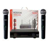 Microfone Profissional Wireless Sem Fio 60 Metros Duplo Uhf Tomate MT- 2207
