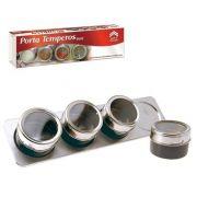 Porta Temperos Magnético Com 4 Peças Inox Mais Suporte - XC 662 / XC 297