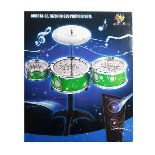 Bateria Infantil Com 3 Tambores1 Prato E 2 Baquetas Art Brink  VERDE