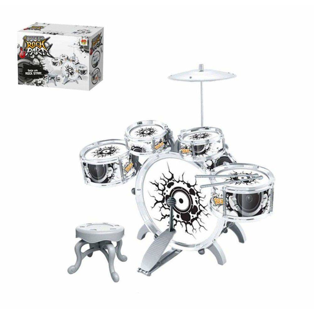 Bateria Infantil Musical Rock Party Com Baqueta E Pedal - DMT 5367