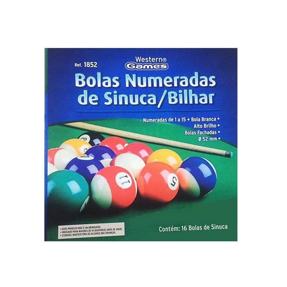 Bola De Sinuca Bilhar Snooker 16 Pçs Numeradas 52mm Western
