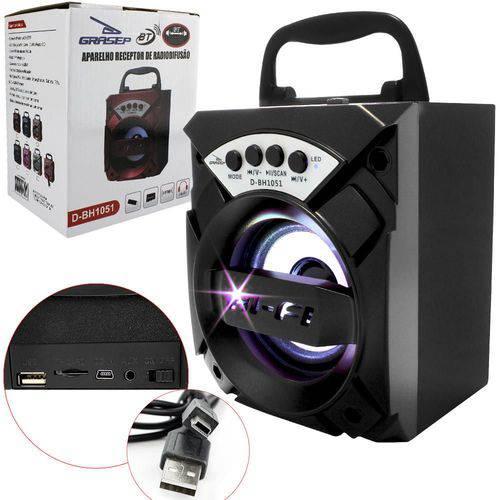 Caixa De Som Bluetooth 6 Watts Com Entrada Sd Card Usb P2 Fm Bivolt (D-bh1051) Preto   Grasep
