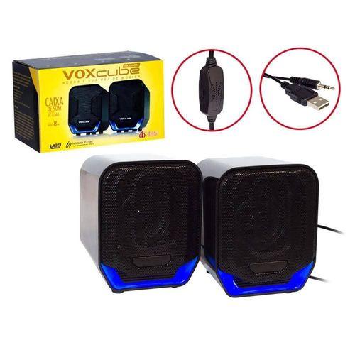Caixa De Som USB 2.0 P2 8w Rms Preto/Azu Vc-d 360 Voxcube
