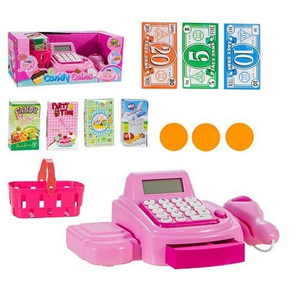 Caixa Registradora Infantil com Calculadora, luz, som e Acessórios Rosa REF: ZB196