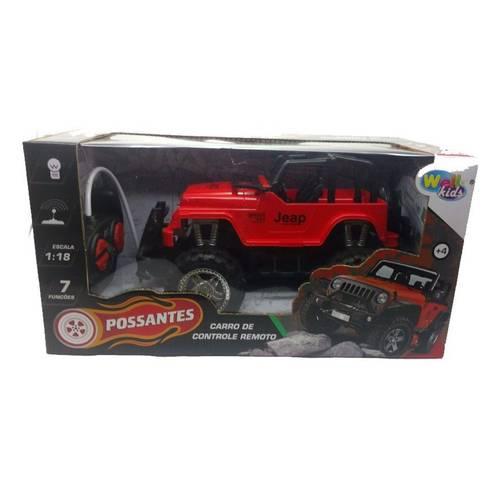 Carrinho De Controle Remoto Jeap Escala 1:18 Modelo Jeep  Vermelho -  WE3780