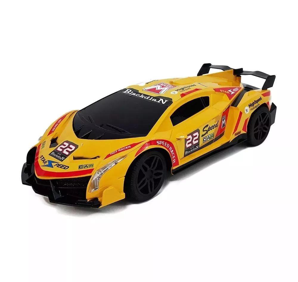 Carro de corrida controle remoto 7 Funções - Wellmix WB-3777 Amarelo