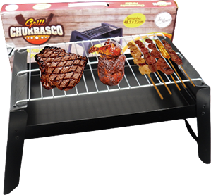 Churrasqueira Portátil Com Grelha 48cm + Kit Churrasco 3 Peças
