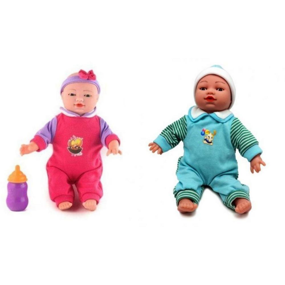 Conjunto 2 Bonecas Reborn de Expressão Facial Casal Menino e Menina